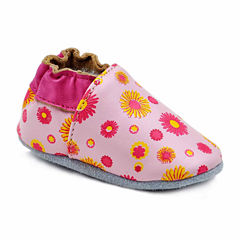 Soft Sole Leather Crib Bootie Baby Shoes - Flower Power