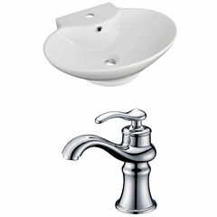 American Imaginations 22.75-in. W Wall Mount WhiteVessel Set For 1 Hole Center Faucet - Faucet Included