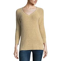 Liz Claiborne 3/4 Sleeve V Neck Lurex Sweater