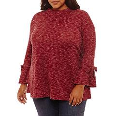 Boutique + 3/4 Sleeve Mock Neck Blouse-Plus