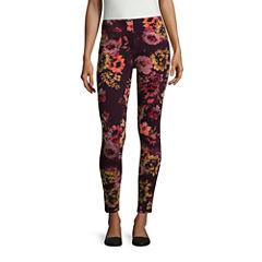 Mixit Burgundy Floral Print Knit Leggings
