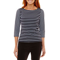 Lark Lane Must Haves I 3/4 Sleeve Boat Neck Stripe T-Shirt-Womens