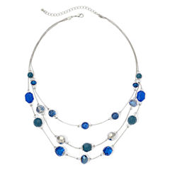 Mixit™ Blue and Green Bead 3-Row Illusion Necklace