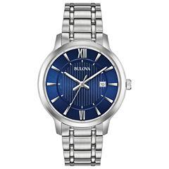 Bulova Mens Silver Tone Bracelet Watch-96b282