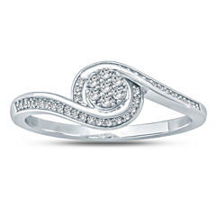 Womens 1/6 CT. T.W. Genuine Round White Diamond 10K Gold Promise Ring