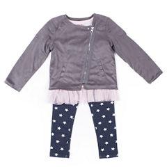 Little Lass Seude Moto Jacket with Printed Star Legging Set- Preschool Girls