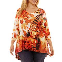 Unity World Wear 3/4 Sleeve Pleat Back Halloween Tee-Plus