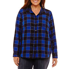 St. John's Bay Long Sleeve Brushed Twill Woven Button Front Shirt-Plus