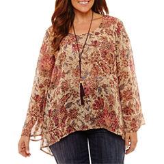 Unity World Wear Long Sleeve Scoop Neck Woven Floral Blouse-Plus