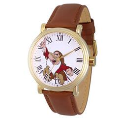 Disney Snow White Mens Brown Strap Watch-Wds000341