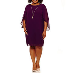 MSK 3/4 Sleeve Sheath Dress-Plus