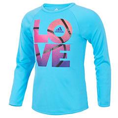 adidas Short Sleeve Crew Neck T-Shirt-Preschool Girls