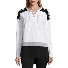 Flirtitude Long Sleeve Sweatshirt-Juniors