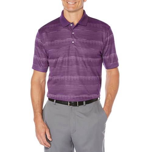 PGA TOUR Short Sleeve Jacquard Mesh Polo Shirt