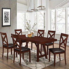 7-pc. Solid Wood Trestle Style Dining Set