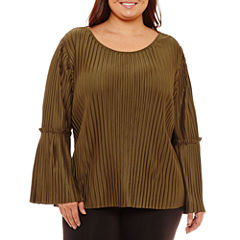 Boutique + Long Sleeve Pleated Blouse-Plus