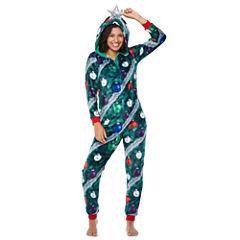 Christmas Tree w/ Hood Long Sleeve One Piece Pajama