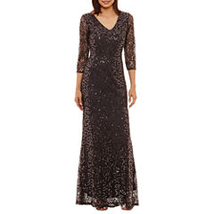 Blu Sage 3/4 Sleeve Sequin-Lace Evening Gown-Petites