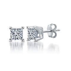 Classic 1/2 CT. T.W. Princess White Diamond 10K Gold Stud Earrings