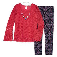 Self Esteem Crochet Bell Sleeve Top and Necklace Legging Set- Girls' 7-16 & Plus