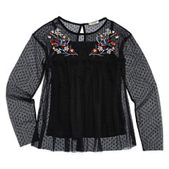 Arizona Long Sleeve Printed and Embroidered Mesh Top - Girls' 7-16 and Plus