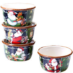 Certified International Santa's Workshop Set of 4 Ice Cream Bowls