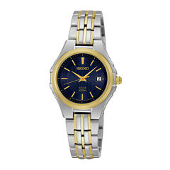 Seiko® Womens Two-Tone Stainless Steel Solar Bracelet Watch SUT224