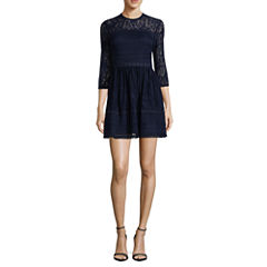 City Triangle Long Sleeve Fit & Flare Dress-Juniors