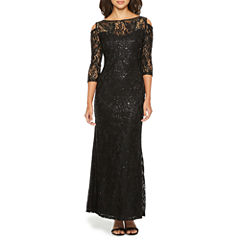 Blu Sage Long Sleeve Sequin Evening Gown