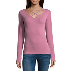 Arizona Long Sleeve Rib Knit Top- Juniors