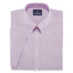 Stafford Travel Wrinkle-Free Oxford Short Sleeve Dress Shirt