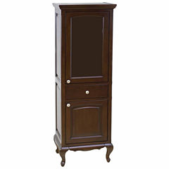 American Imaginations 21.5-in. W x 62.75-in. H Traditional Birch Wood-Veneer Linen Tower In Walnut