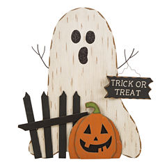 Glitzhome Wooden Ghost with Pumpkin Figurine