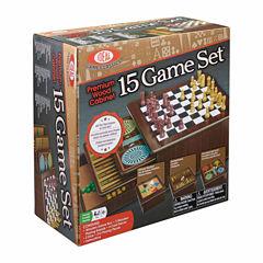 Ideal Premium Wood Cabinet 15 Game Set Board Game