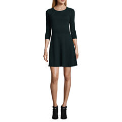 by&by Long Sleeve Embellished Skater Dress-Juniors
