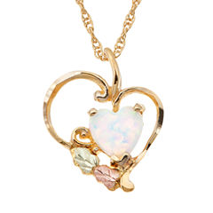 Black Hills Gold Black Hills Gold Landstroms Womens White Opal 10K Gold Pendant Necklace