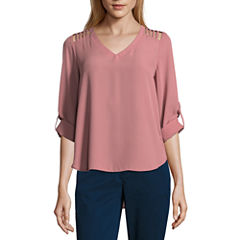 Lily White  Long Sleeve V Neck T-Shirt-Womens Juniors