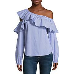 Belle + Sky One Shoulder Ruffle Shirt