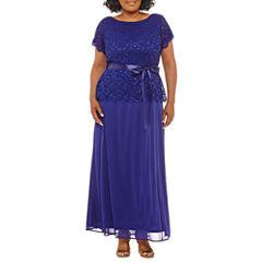 Blu Sage Short Sleeve Lace Evening Gown-Plus