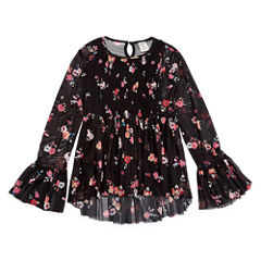 Arizona Scoop Neck Long Sleeve Flutter Sleeve Blouse - Big Kid Girls