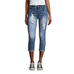 Hydraulic Jewel Cuff Destructed Skinny Fit Jeans-Juniors