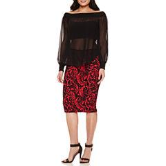 Bisou Bisou® Slit Sleeve Mock Neck Off Shoulder Top or Pencil Skirt