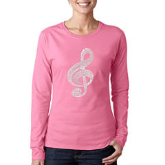 Los Angeles Pop Art Women's Long Sleeve T-Shirt -Music Note