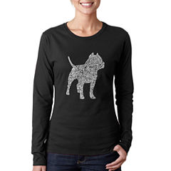 Los Angeles Pop Art Women's Long Sleeve T-Shirt -Pitbull