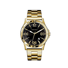 Caravelle Mens Gold Tone Strap Watch-44b120