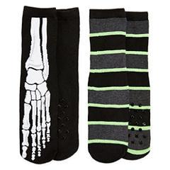 Skeleton 2 Pack Slipper Socks - Boys 4-20