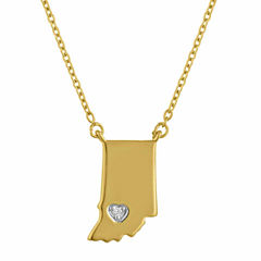 Diamond Accent 14K Yellow Gold over Silver Indiana Pendant Necklace