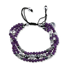 Footnotes Womens Purple Silver Over Brass Beaded Bracelet