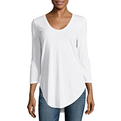 a.n.a 3/4 Sleeve Scoop Neck T-Shirt-Womens Talls