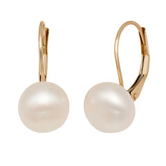 White Pearl 14K Gold Drop Earrings
